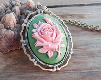 Vintage Style Pink Rose Cameo in Antiqued brass on 20 Inch Chain