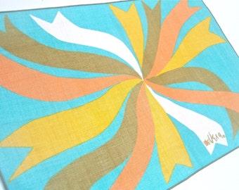 Vera Paints a Placement Set - Mod Ribbons - a vintage 1960's set of 4 Vera Neumann table placemats - pure Belgian Linen - MINT