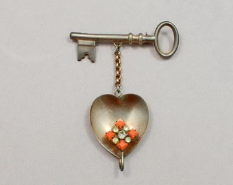 1940s Brooch Sterling Silver Dangle Heart Key Coral Rhinestones