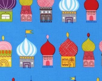 Little Kukla by Suzy Ultman for Robert Kaufman, Russian Village in Blue, Half yard