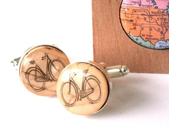 Bike Cufflinks, Cyclist Gift, Bicycle Cufflinks, Bike Jewelry, Eco Friendly Jewelry, Groom Cufflinks, Groomsmen Gift, Bike Guy Gift Uncorked