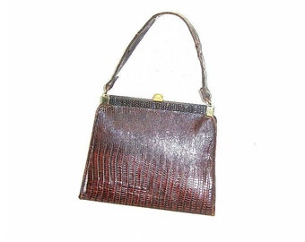 Vintage Small Handbag Purse Faux Snakeskin Attached Coin Purse