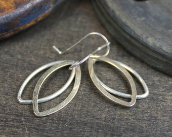 Modern Mixed Metal Earrings - Sterling Silver, Gold