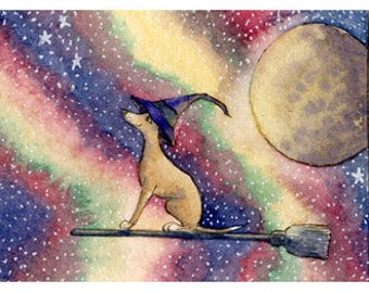 Greyhound whippet dog 8x10 print - flying broomstick