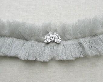 Stardust silk garter with crystal detail