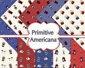 Buy 1 Get 1 Free Primitive Americana Sheep Raggedy Saltbox Candles Digital Scrapbooking 10 Paper Pack 12x12 300 dpi