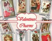 Buy 1 Get 1 Free Vintage Valentines Postcard Charms Antique Greeting Romantic Love Ephemera No.3 Clipart Scrapbooking Digital Graphics