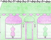 INSTANT DOWNLOAD Shabby Boutique Shop Chic Dress Form Store Front Watercolor Digital Clipart Graphic Image No.2 Buy 1 Get 1 Free