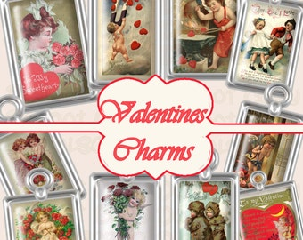 Buy 1 Get 1 Free Vintage Valentines Postcard Charms Antique Greeting Romantic Love Ephemera No.3 Clipart Scrapbooking Digital Graphics