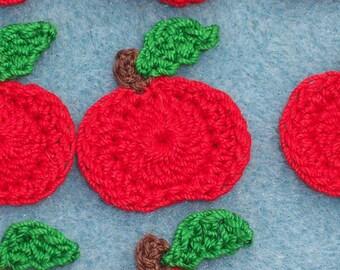 12 crochet applique red apples  -- 1647