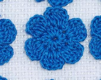 12 handmade blue hawaii crochet applique flowers -- 1763