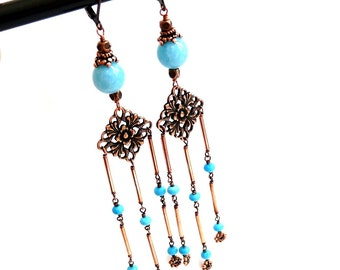 Turquoise, Copper , Chandelier Earrings, Handmade Jewelry
