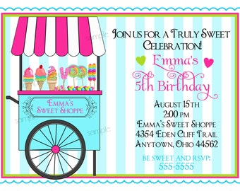 Candy Invitations, Sweet Shoppe Cart, Candy party, Sweet Shoppe,  Sweet shop, BIrthday, Children, Girls