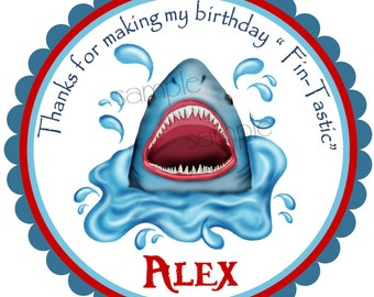 Shark  Stickers, Sharks In Water, Sharks, Ocean, under the sea, Party, Birthday, favor Stickers, set of 12