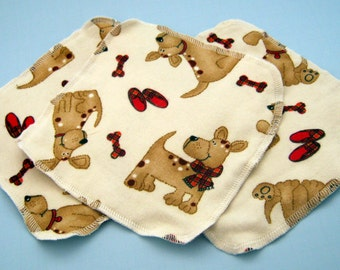 Plaid Puppies Double Layer Flannel Washcloths Set of 3