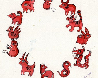 Chinese zodiac Original Watercolor