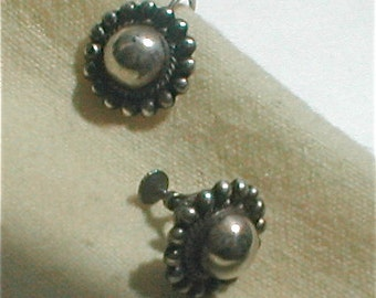 Vintage 40s Mexican Sterling Earrings  Screwback Domed and Bubbled Ranchero Style
