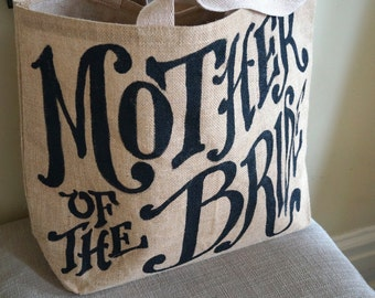 "Custom Quote Burlap Tote 16"" - mother of the bride - wedding - monogram"