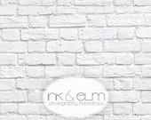 """Photography Backdrop 9ft x 6ft, Vinyl Photography Backdrop, White Brick Wall backdrop, photo prop, newborn prop, """"Great White Brick Wall"""""""