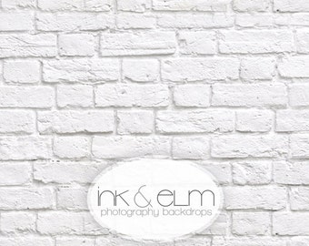 "Photography Backdrop 3ft x 3ft, Vinyl Photography Backdrop, White Brick Wall backdrop, photo prop, newborn prop, ""Great White Brick Wall"""