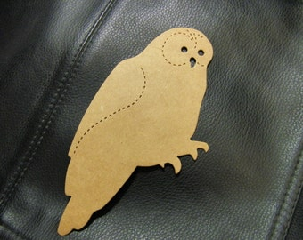 Large Owl Die Cut from Kraft Chipboard 3.55 x 5 inches Tall  Pack 4