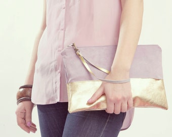 Lavender Clutch. Gold Leather Clutch. Mauve Bridesmaid. Gold Bridesmaid Clutch. Gold Wedding Clutch.