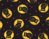 Fabric, Cotton Fabric, Moda Fabric Pumpkin Party Halloween Owl at the Moon Black, 2.50 per Yard, FABRIC SALE, Closeout