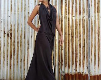 ORGANIC Apron Wrap Long Dress (Light hemp and organic cotton Knit) - organic backless HEMP dress