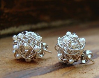 Silver Stud Earrings,Silver Love Knots with Genuine Seed Pearls, Silver And Gold Love Knot Stud Earrings