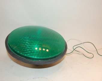 Vintage Dialight Green Light Traffic Light 13 inch  diameter wired signal light