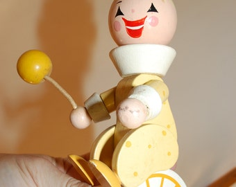 vintage children's lamp yellow circus figure painted wood