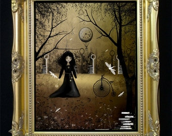Steampunk Goth Girl Art Print --  Another Time -- Clockworks - Dragonfly -- Penny Farthing