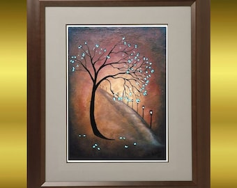 Tree Art Print - On the Lonely Road -- Abstract Tree and Street Lights --  Wall Decor