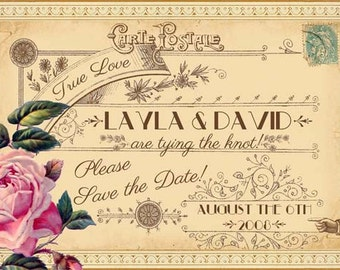 Evangeline - Vintage Victorian French Rose and Antique Typography - Printable DIY Wedding Save the Date Cards - Customized and Personalized