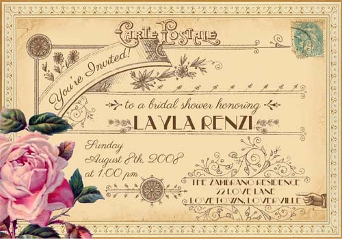 Postcard Wedding Shower Invitations: Evangeline Vintage Victorian French Rose And Typography
