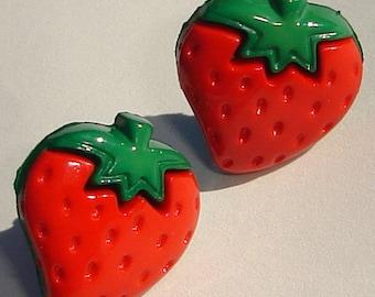Pierced Earrings red strawberries with dark green leaves pierced post earrings