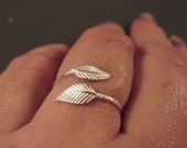Sterling silver open ring, Dainty silver ring, Everyday ring leaf jewelry, adjustable silver ring