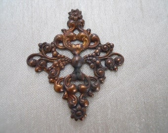 Vintage Oxidized Brass Floral Art Deco Stamping