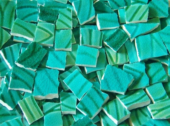 Mosaic Tiles--Patina Green Glaze 100-- Tiles -- Perfect for your mosaic project