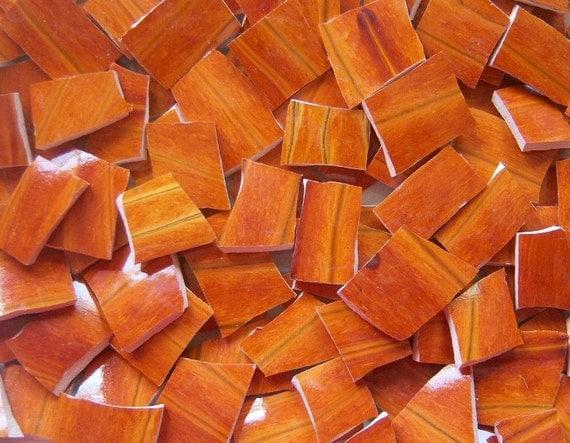Mosaic Tiles--Flame----Pottery-- 100 Tiles