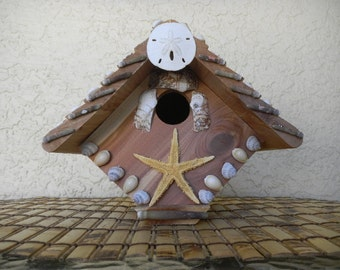 Cedar Bird House Wren House Seashell Embellished Bird House Garden Art Beach Decor