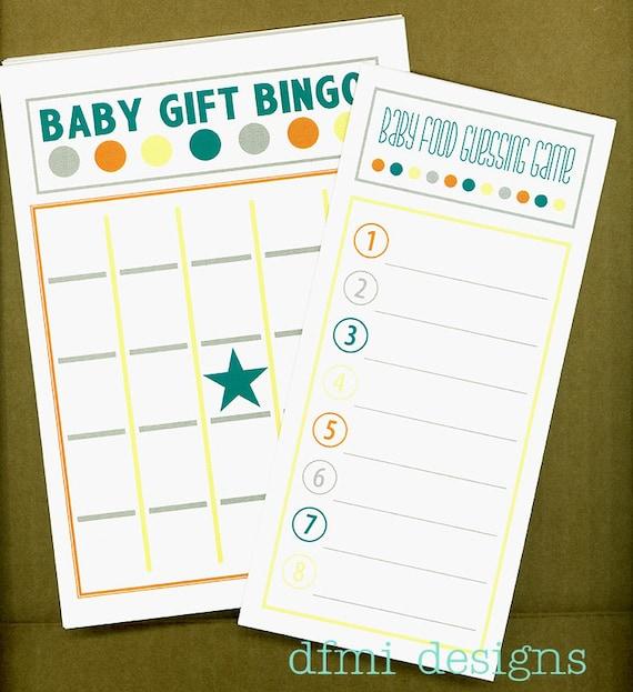 Baby Gift Bingo : Items similar to baby shower game cards gift bingo