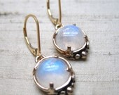 Leaf Solitaire Earrings- Rainbow Moonstone and Bronze