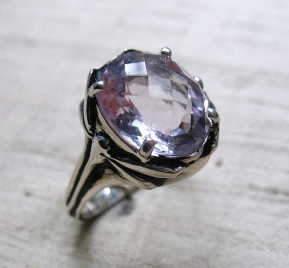 Damselfly and Dragonfly Ring- Rose de France Amethyst and Sterling