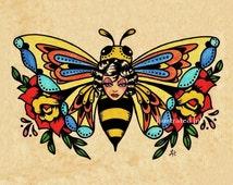 Old School Tattoo Art BEE Beauty Butterfly Print 5 x 7, 8 x 10 or 11 x 14