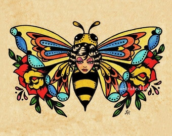 Old School Tattoo Art BEE Beauty Butterfly Print 5 x 7, 8 x 10 or 11 x 14