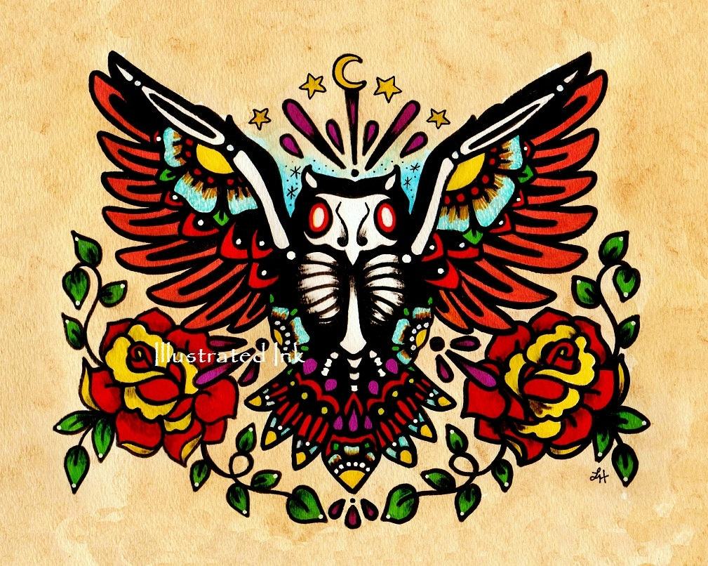 Old School Owl Tattoo