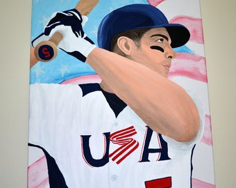 David Wright New York Mets Team USA Baseball Painting
