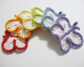 Lot Of Six Rainbow Butterfly Crocheted Face Scrubbies