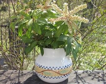 Vintage Pottery Jar/ Vase/ Planter - Blue and Gold With Lid
